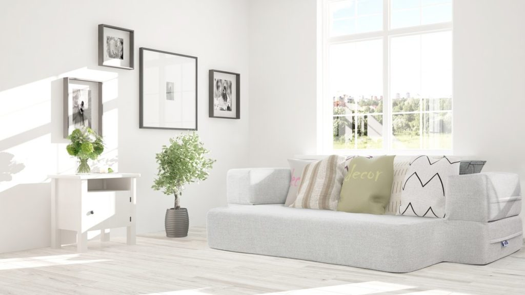 CouchBed in a living room