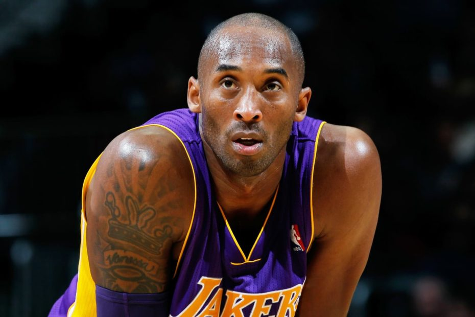 Kobe Bryant wearing Lakers jersey