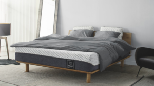Muse mattress with gray bedding
