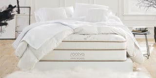 Saatva Luxury Mattress in an all white setting
