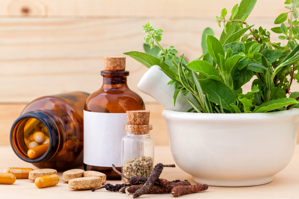 Natural sleep supplements on table