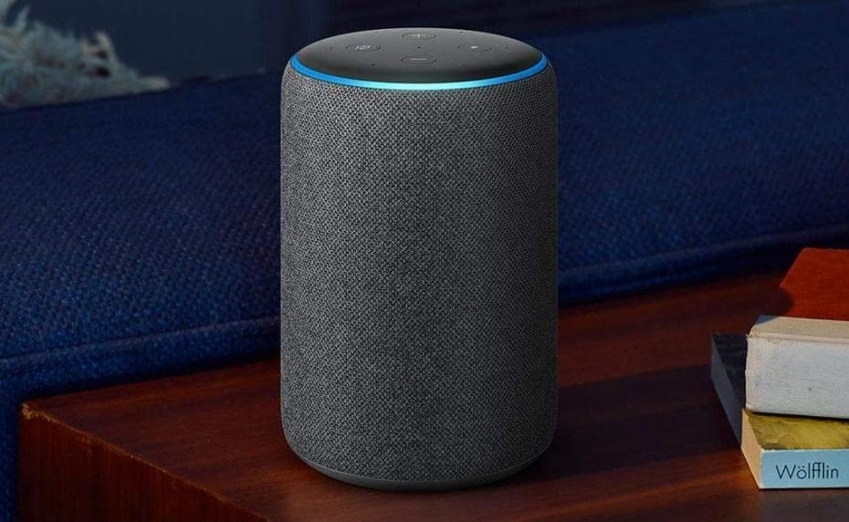 Grey Amazon Echo on nightstand
