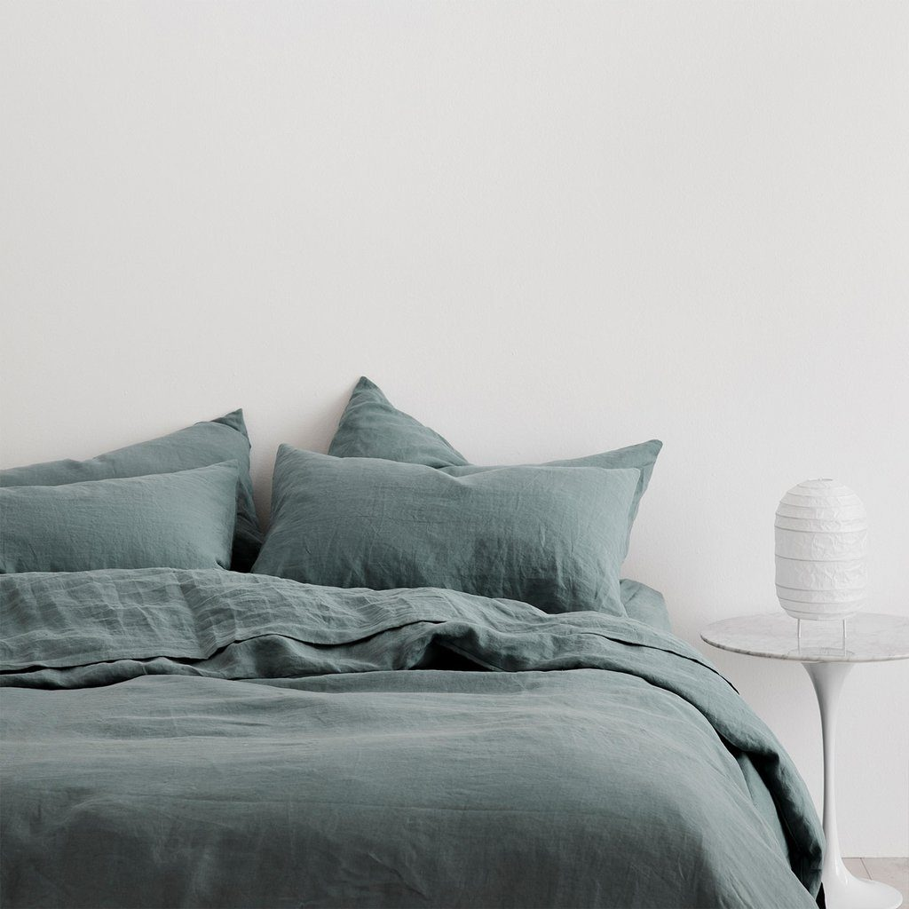 Blue Cultiver Linen sheets and duvet cover
