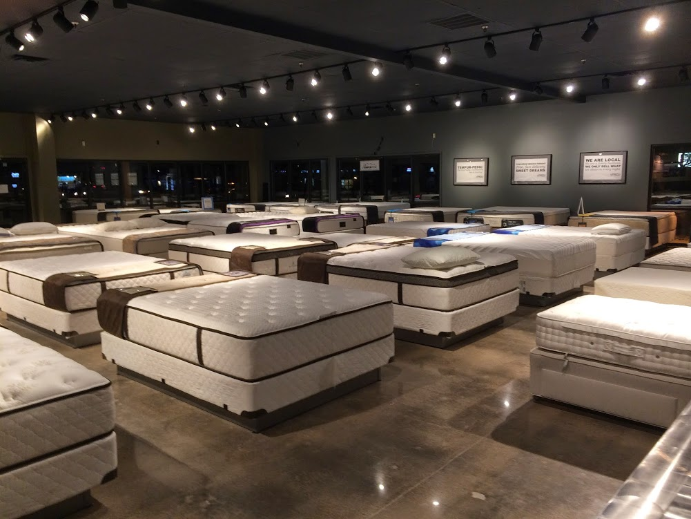 mattresses in a store showroom