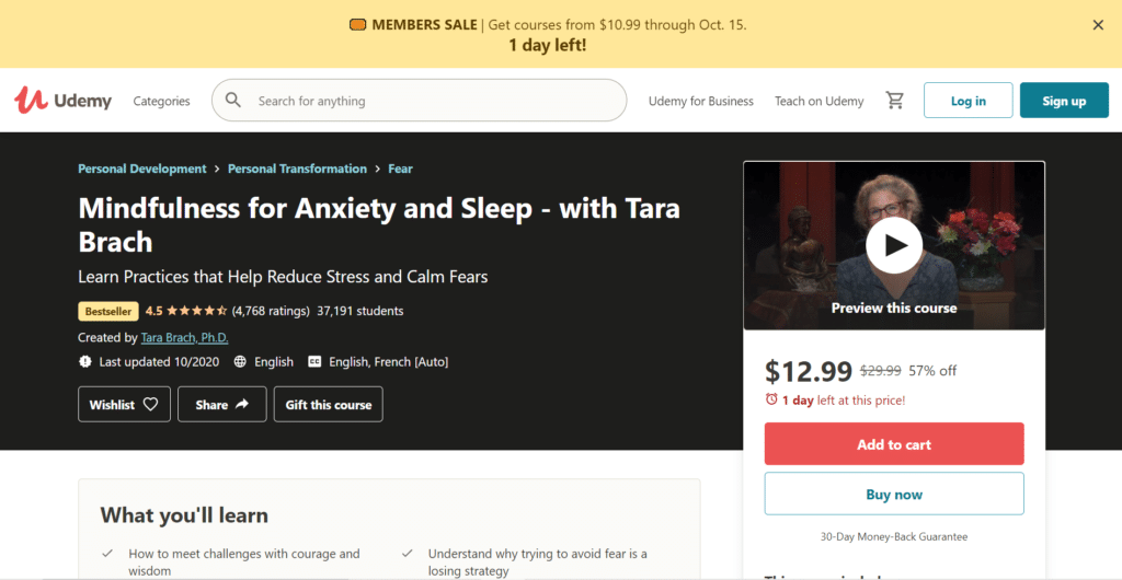 Mindfulness for Anxiety and Sleep - With Tara Brach course on Udemy