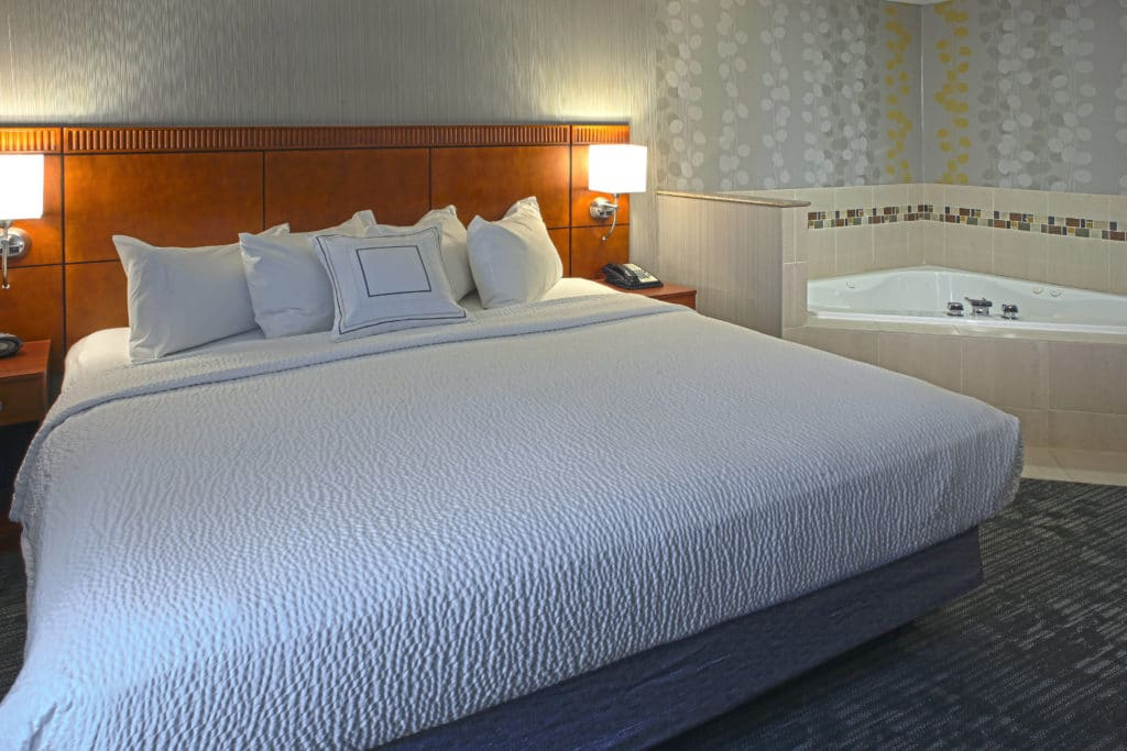 Courtyard by Marriott hotel room with bed