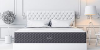 puffy lux mattress in all white bedroom