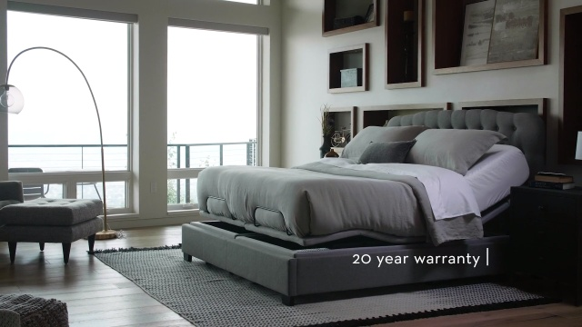 Plushbeds s755 adjustable base in grey themed room